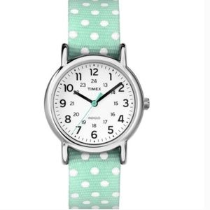NIB Timex Weekender Mint Polka Dot Watch
